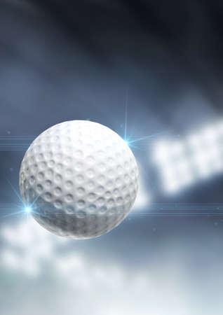 pelota de golf: A regular golf ball flying through the air on an indoor stadium background during the night