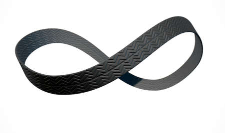 motion modern: A 3D rendering of an infinity symbol made up of a ribbon of rubber tyre tread on an isolated white studio background