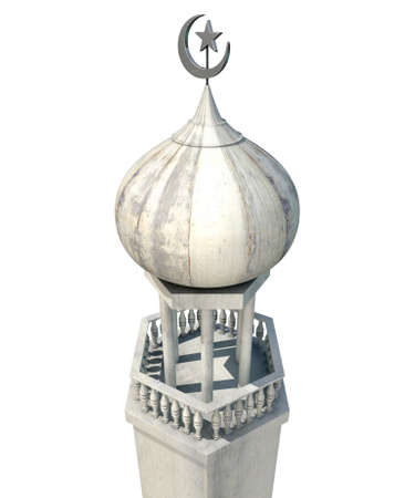 cupola: A mosque minaret with a cupola dome and an islamic crescent moon and star on a blue sky background