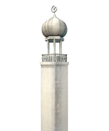 devotional: A mosque minaret with a cupola dome and an islamic crescent moon and star on a blue sky background
