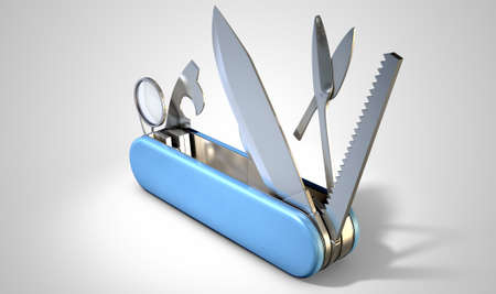 temperino: A close up view of a multipurpose penknife with a blade and saw on an isolated studio background
