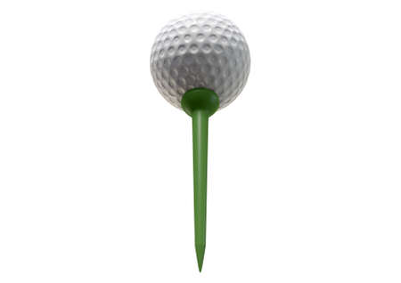sport object: A regular golf ball on a green tee on an isolated white studio background Stock Photo