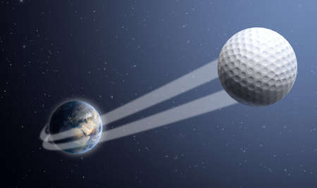 swish: A sporting concept showing a regular golf ball swooshing out and above the earth onto a starry space background