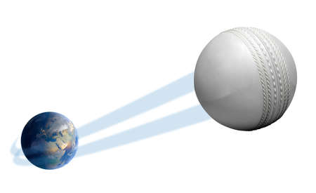 large ball: A sporting concept showing a regular white cricket ball swooshing out and above the earth onto an isolated white studio background