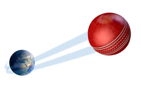 red ball: A sporting concept showing a regular red cricket ball swooshing out and above the earth onto an isolated white studio background Stock Photo