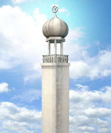 A mosque minaret with a cupola dome and an islamic crescent moon and star on a blue sky background