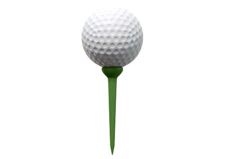 sporting equipment: A regular golf ball on a green tee on an isolated white studio background Stock Photo