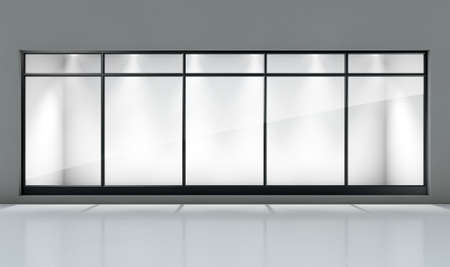 forepart: An empty shop front window display in a generic setting