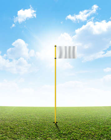 sporting equipment: A perfect flat green lawn against a blue sky with white clouds