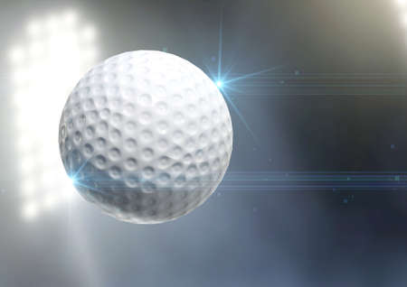 floodlit: A regular golf ball flying through the air on an a outdoor stadium background during the night