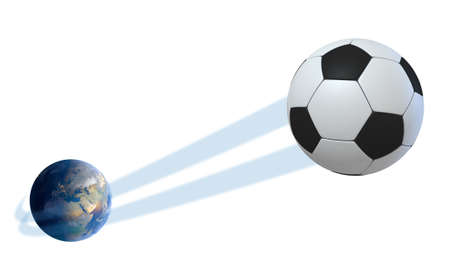 swish: A sporting concept showing a regular soccer ball swooshing out and above the earth onto an isolated white studio background