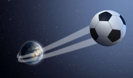 swish: A sporting concept showing a regular soccer ball swooshing out and above the earth onto a starry space background Stock Photo