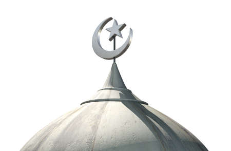 mosque: A closeup of the top of a mosque minaret with a cupola dome and an islamic crescent moon and star on a blue sky background