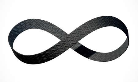 bucle: Una representación 3D de un símbolo de infinito formado por una cinta de la banda de rodadura de los neumáticos de caucho en un aislado fondo blanco de estudio Foto de archivo