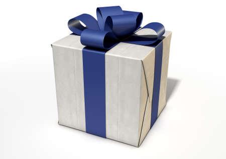 cubo: Una caja de paquetes en forma de cubo envuelto en papel marrón y una cinta bue y el arco en un aislado fondo blanco del estudio Foto de archivo