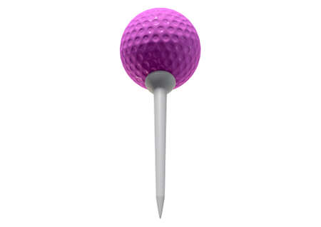 sporting equipment: A regular pink golf ball on tee on an isolated white studio background