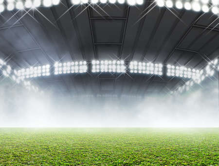 unmarked: A generic indoor stadium with an unmarked green grass pitch with an eerie mist at night under illuminated floodlights