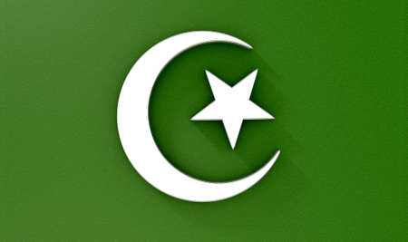 allah: A metal islamic crescent moon and star on a green textured background