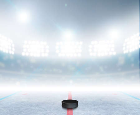 A generic ice hockey ice rink stadium with a frozen surface and a hockey puck under illuminated floodlights