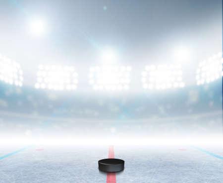 hockey cesped: Un estadio de hockey sobre hielo pista de hielo genérico con una superficie congelada y un disco de hockey con luz artificial iluminadas