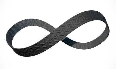 tyre tread: A 3D rendering of an infinity symbol made up of a ribbon of rubber tyre tread on an isolated white studio background