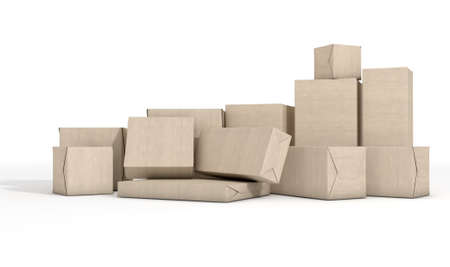 stockpile: A scattered collection of parcel boxes wrapped in brown paper on an isolated white studio background