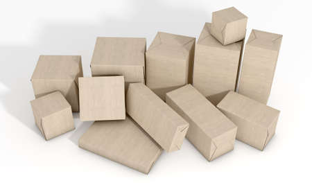 assemblage: A scattered collection of parcel boxes wrapped in brown paper on an isolated white studio background