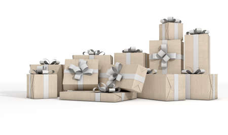 white ribbon: A scattered collection of gift boxes wrapped in brown paper and a white ribbon and bow on an isolated white studio background