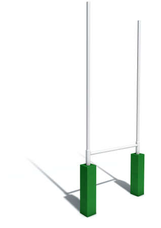 uprights: An isolated studio shot of white rugby posts with green padding Stock Photo