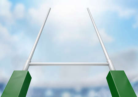 post: A closeup of rugby posts in a stadium in the daytime under a blue sky
