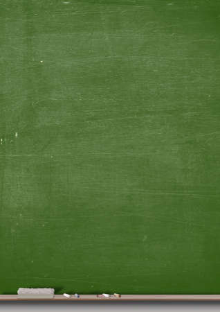 seperated: A rectangular green chalkboard with a metal frame with a wooden ledge chalk and a duster Stock Photo