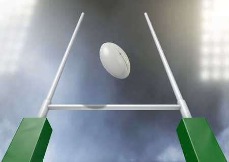 post: A closeup of rugby ball flying between rugby posts in a stadium under floodlights at night