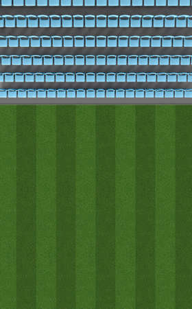 A direct top view of a section of a stadium with a grass field in the daytime