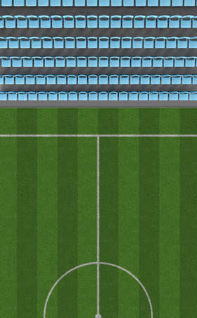 ringside: A direct top view of a section of a soccer stadium with a marked grass field in the daytime Stock Photo