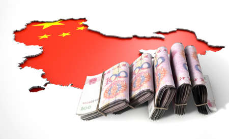 recessed: A chinese flag in the shape of China recessed into an isolated white surface with a pile of yuan notes