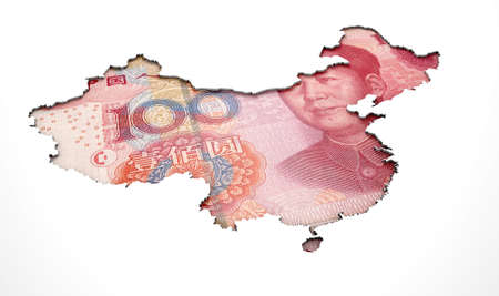 recessed: A yuan note in the shape of China recessed into an isolated white surface