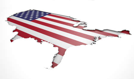 recessed: The shape of the country of America in the colours of its national flag recessed into an isolated white surface Stock Photo