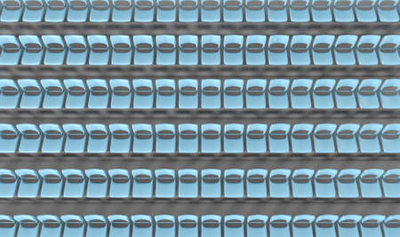 congregation: A section of stadium seating with blue chairs set in rows on a sloping concrete bank Stock Photo