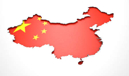 recessed: The shape of the country of China in the colours of its national flag recessed into an isolated white surface
