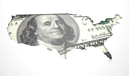 dollaro: Una nota dollaro a forma d'America incasso in una superficie bianca isolato