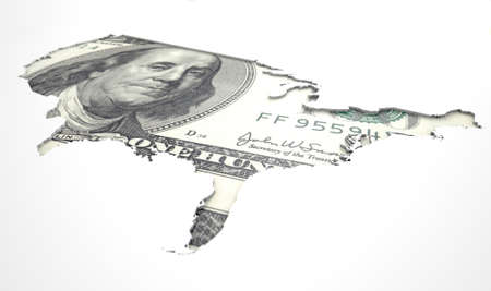 recessed: A US dollar note in the shape of America recessed into an isolated white surface
