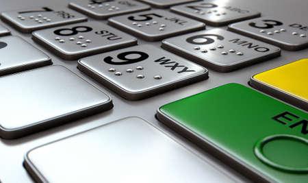 braile: Vista de cerca de un genérico botones del teclado atm con números y en braille