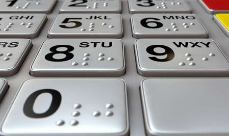 braille: Vista de cerca de un genérico botones del teclado atm con números y en braille