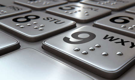 Closeup view of a generic atm keypad buttons with numbers and braille Stock Photo