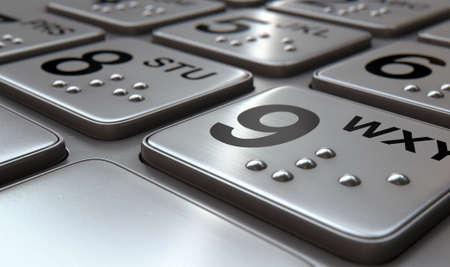 klawiatura: Widok z bliska generycznych przycisków klawiatury atm z liczbami i alfabetu Braille'a