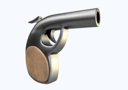 shooter: A concept of a stylized single shooter handgun made of metal with a wooden handle on an isolated studio background