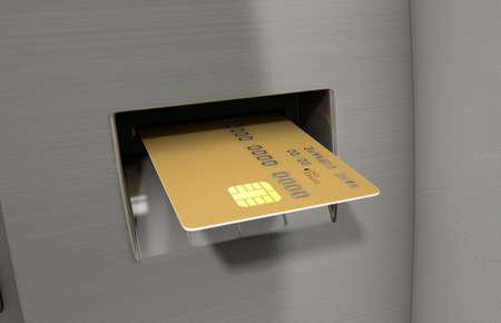 withdraw: A closeup view of a generic atm facade with a bank card being iserted into the card slot on an isolated background