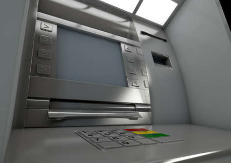 deposit: A closeup view of a generic atm facade with a blank sceen on an isolated background