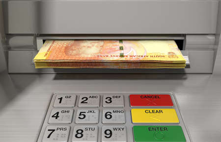 nelson: A closeup view of a generic atm facade with an illuminated sceen and keypad and a wad of South African rand banknotes being withdrawn from it Stock Photo