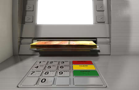 rand: A closeup view of a generic atm facade with an illuminated sceen and keypad and a wad of South African rand banknotes being withdrawn from it Stock Photo
